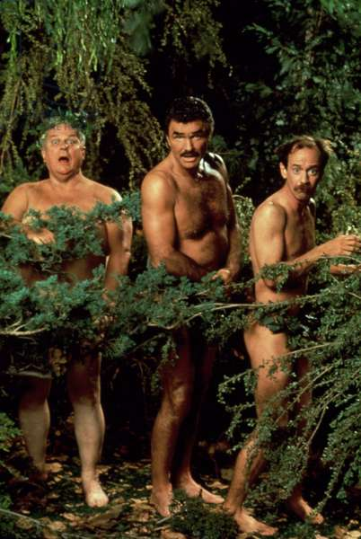 EVENING SHADE, Charles Durning, Burt Reynolds, Michael Jeter, 1990-1994, hiding in the shrubs