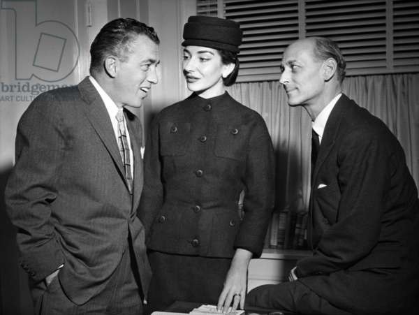 Maria Callas, discussing a television contract with Ed Sullivan and Rudolf Bing, 1956