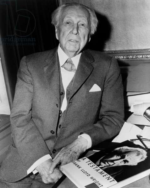 Frank Lloyd Wright: Frank Lloyd Wright (1867-1959), American architect with his 1957 book, A TESTAMENT, an artistic autobiography and summation of his design principles.