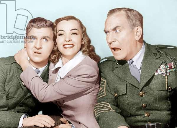 Heros d'occasion: HAIL THE CONQUERING HERO, from left: Eddie Bracken, Ella Raines, William Demarest, 1944