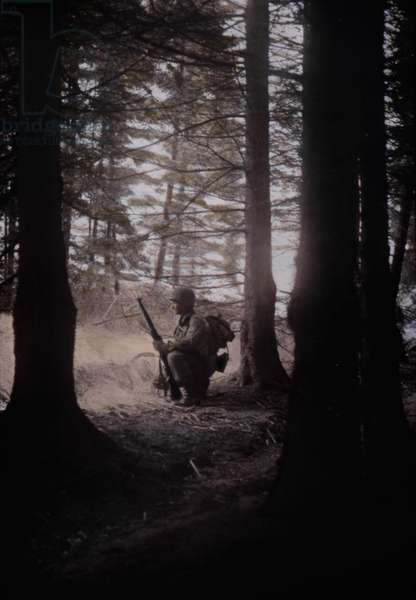U.S. soldier pausing in a wooded area during the first ten days of the Battle of the Bulge. Dec. 12-22, 1944. Belgium, World War 2. B&W Photo with oil color. (JTHIS_2014_3_186)