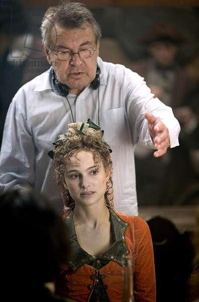 GOYA'S GHOSTS, director Milos Forman (top), Natalie Portman, on set, 2006. ©Warner Bros./courtesy Everett Collection