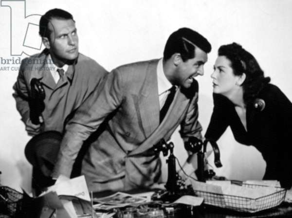 HIS GIRL FRIDAY, Ralph Bellamy, Cary Grant, Rosalind Russell, 1940