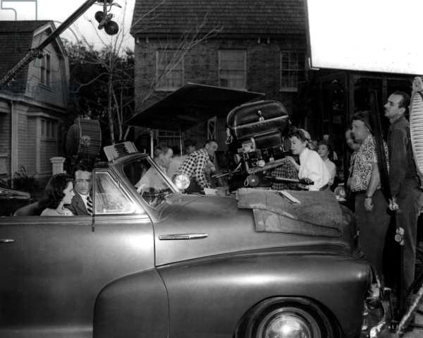 Ida Lupino: OUTRAGE, Mala Powers and Robert Clarke on set as director Ida Lupino checks camera angle, 1950