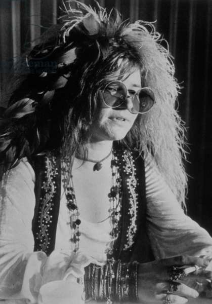 JANIS JOPLIN, 1960s, featured in the documentary, JANIS, released in 1975 (b/w photo)