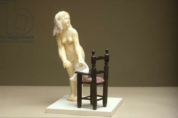 Girl with Chair, 1975 (wax & wood)