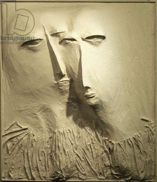 Two White Heads, 1961 (papier mache)