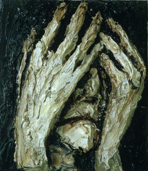 Grieving Head, 1984 (painted relief)