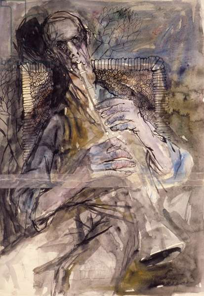 Lionel Playing, 1960 (pen and ink and wash on paper)