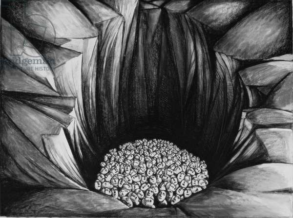In the Pit IV, 1987 (charcoal & chalks on paper)