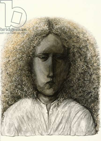 Girl with Curly Hair, 1985 (charcoal on paper)