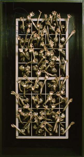 Imprisoned People, 1983 (boxed painted relief)