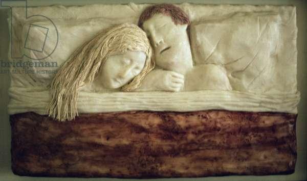 Sleeping Couple, 1977 (wax)