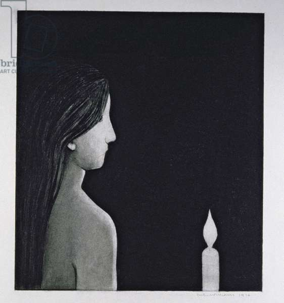 The Candle, 1976 (charcoal on paper)
