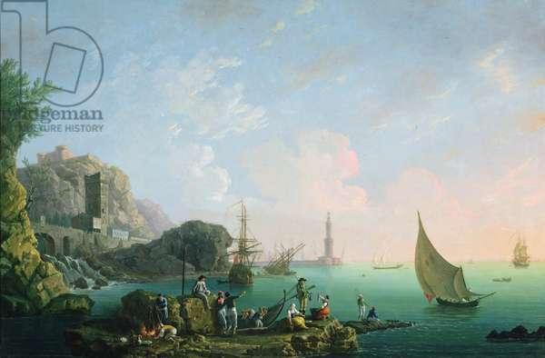 Italian Port Scene (Sunset)