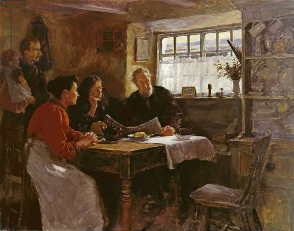 The 22nd January 1901 (Reading the News of the Queen's Death in a Cornish Cottage) (oil on canvas)