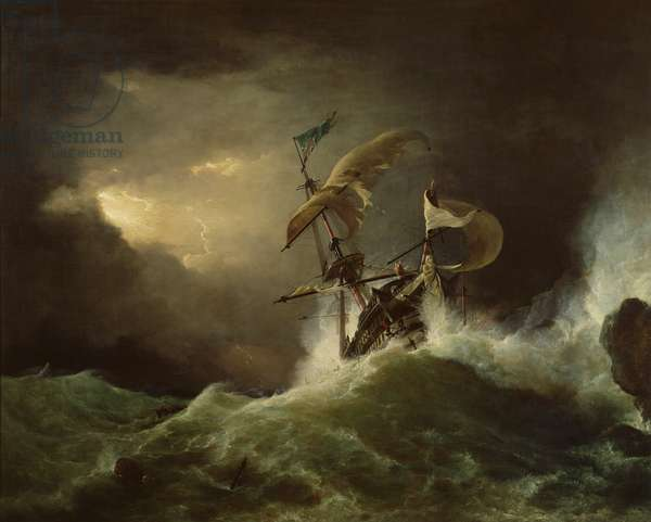 A First rate Man-of-War driven onto a reef of rocks, floundering in a gale (oil on canvas)