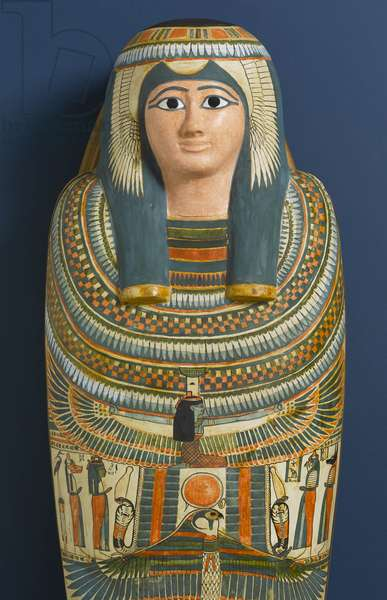 Cartonnage mask of Shep en-Mut, 800 BC (wood, plaster & pigment)