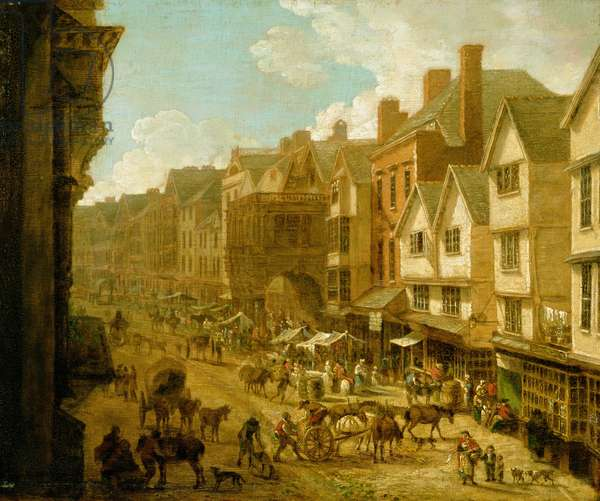 The High Street, Exeter, 1797, (oil on board)