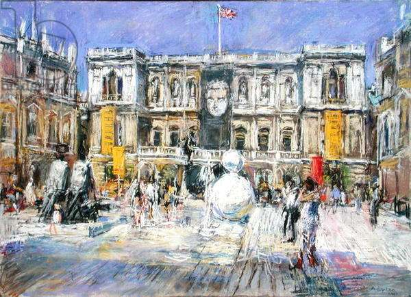 The Annenberg Courtyard with the snowman by Gary Hume, Royal Academy of Arts, 2002 (pastel on board)