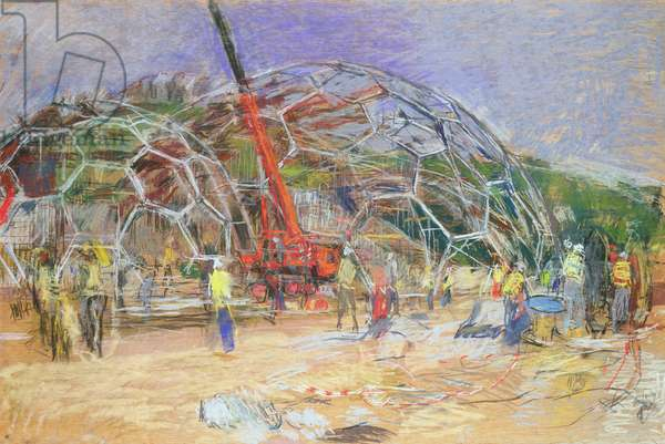 The Eden Project, Construction, March 2000 (pastel on paper)