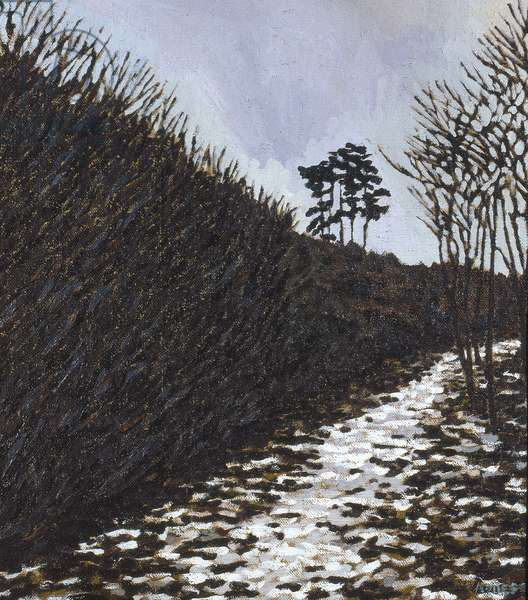 Snowscape, Sussex (oil on canvas)