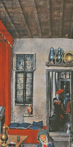 f.93v The Birth of John the Baptist and the Baptism of Christ by Jan Van Eyck (c.1390-1441) (detail of 60322)