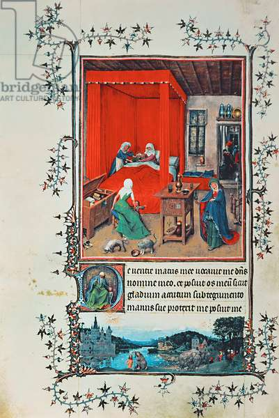 f.93v The Birth of John the Baptist and the Baptism of Christ, from the 'Hours of Milan', 1422