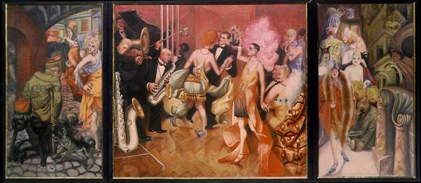 'Grosstadt' (urban debauchery) 1927-28 (triptych) (oil on canvas)