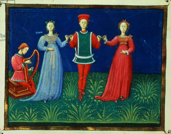 It 973 f.21v A Gentleman dancing with two Ladies, from 'Trattato dell'Arte del Ballare' (vellum)