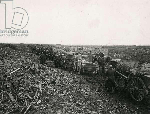 Battlefield, Passchendaele during the First World War, Belgium, 29th September, 1918 (b/w photo)