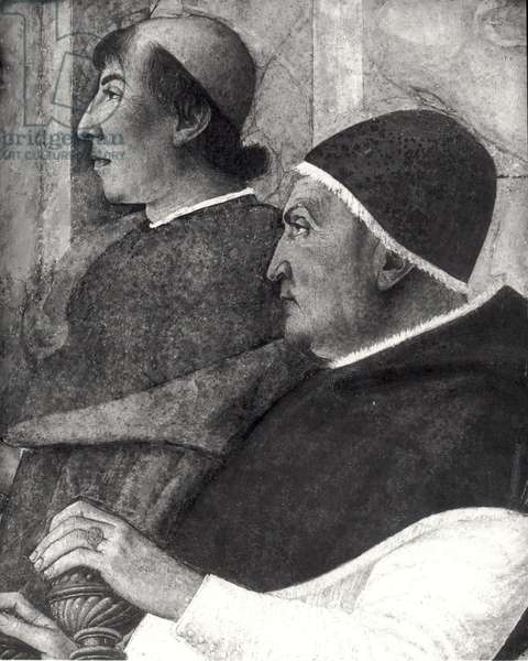 Pope Sixtus IV (1414-84) (Francesco della Rovere) with a Cardinal behind him Installs Bartolommeo Platina as Director of the Vatican Library (fresco) (detail) (b/w photo)