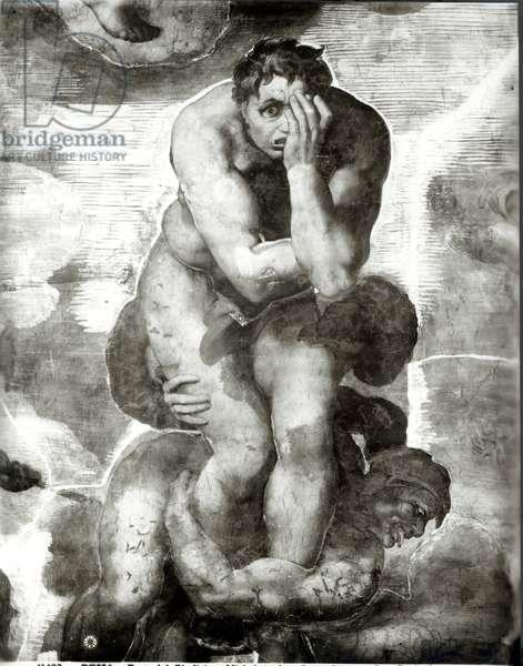 The Last Judgement, 1538-41 (fresco) (b/w photo) (detail)
