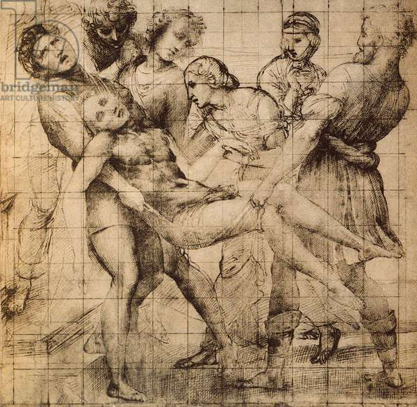 """Preparatory drawing for the Transport of Dead Christ also known as the """"pala Baglioni""""; work of Raphael. Gabinetto dei disegni e delle stampe, Uffizi, Florence"""