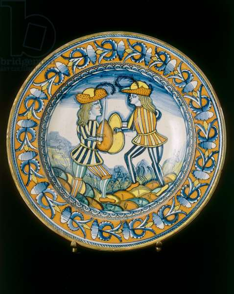 Plate with two soilders combating with swords, Deruta manufacture