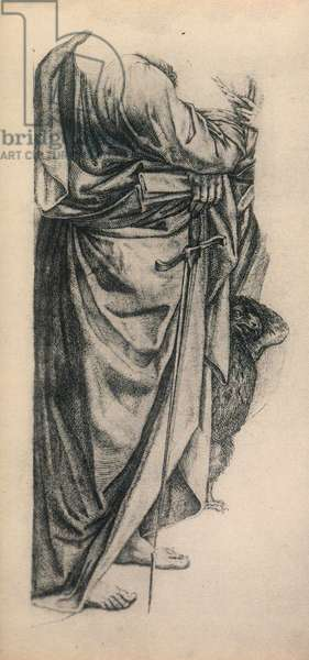 """Study for the mantle of Saint Paul in the """"pala di Bologna""""; drawing by Raphael. Gallerie dell'Accademia, Venice"""