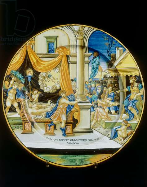 Temptation of Guiseppe Ebreo, plate by Francesco Xanto Avelli conserved in the Museo Nazionale del Bargello, Florence