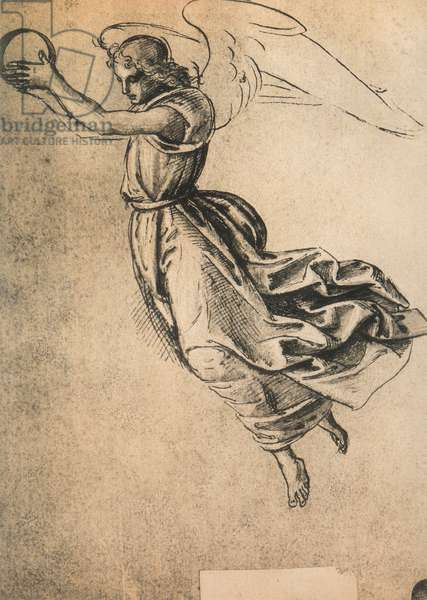 An angel; drawing by Raphael. Gallerie dell'Accademia, Venice
