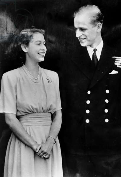 Princess Elizabeth, later the Queen of England, with the fiance Philip Mountbatten, later Prince Phillip of Edinburgh, 1946