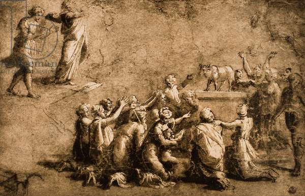 Adoration of the Golden Calf or Moses Breaks the Tables of the Law; drawing by Raphael. Gabinetto dei Disegni e delle Stampe, Uffizi Gallery, Florence