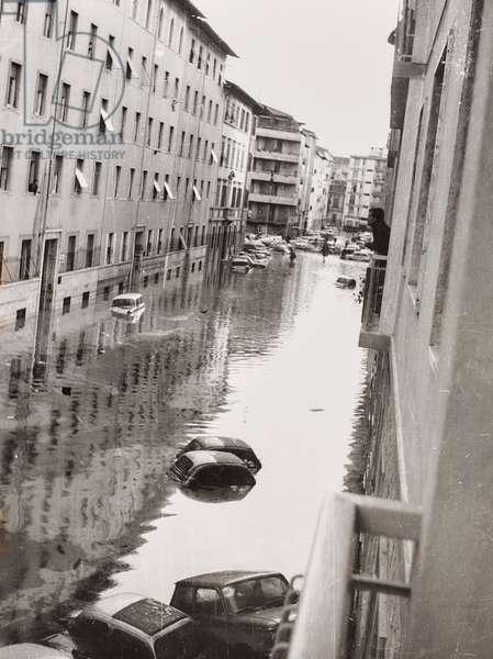 Florence flood of November 4, 1966: via Quintino Sella flooded