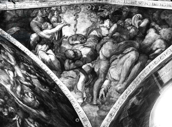 The Brazen Serpent, from the Sistine Ceiling (fresco) (b/w photo)