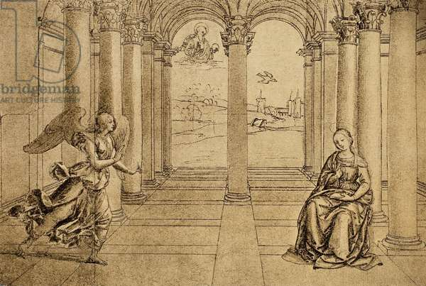The Annunciation; drawing by Raphael. The Louvre, Paris