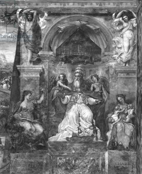 Pope Urban I (d.230) between Justice and Charity, Raphael Rooms (fresco) (b/w photo) (see also 252783, 252784, 252785)