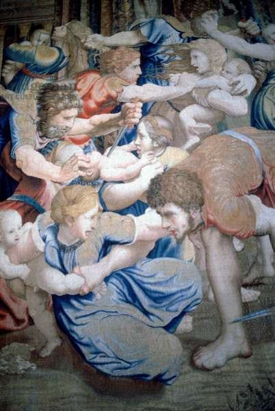 Detail of a tapestry depicting the Massacre of the Innocents, c.1520-31 (wool & silk)