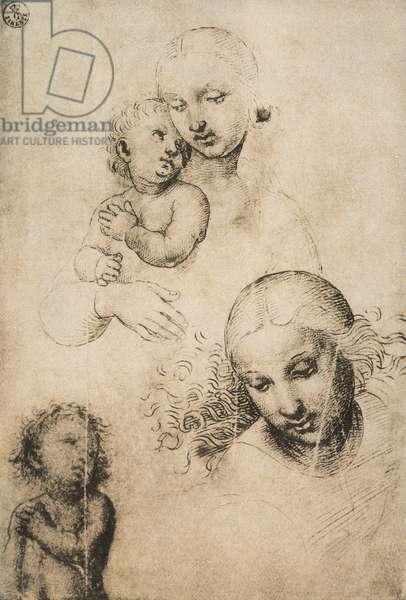 Study for a Madonna and Child, drawing by Raffaello Sanzio. Gabinetto dei Disegni e delle Stampe, Uffizi Gallery, Florence