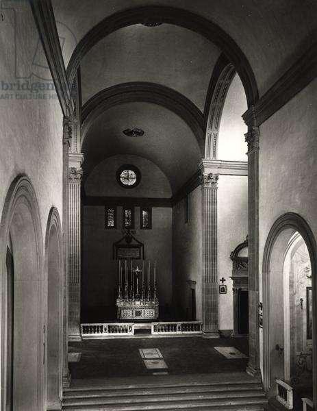 Interior of the church (b/w photo)