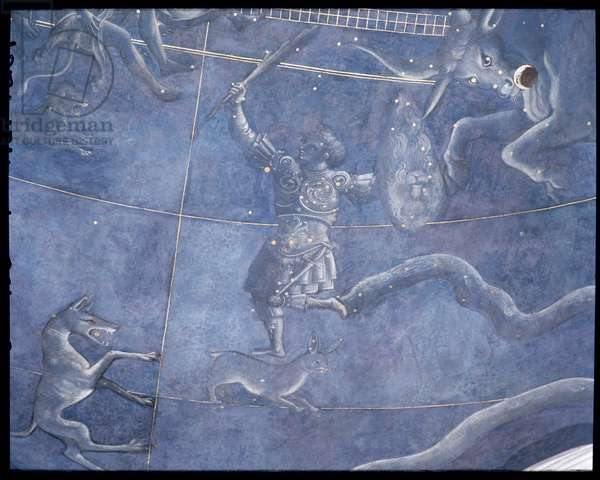 The Path of the Sun through the stars on the night of the 4th July 1442, detail of Orion and Taurus, from the soffit above the altar, c.1430 (fresco) (detail of 85088)