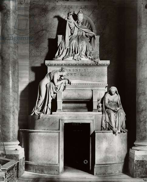 Mausoleum of Pope Clement XIV (1705-74) in the Sacristy (marble) (b/w photo)