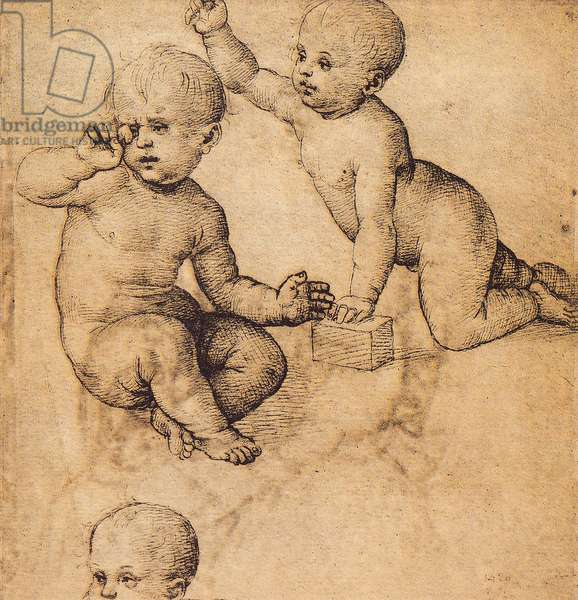 Study of cherubs; drawing by Raphael. The Louvre, Paris